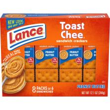 Lance Toast Chee Cracker Sandwiches, Peanut Butter, On-the-Go Packs