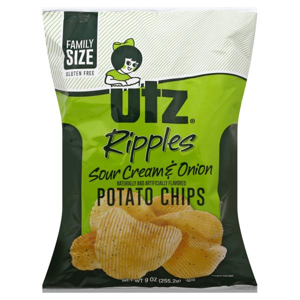 Utz Ripples Potato Chips, Sour Cream & Onion Flavored