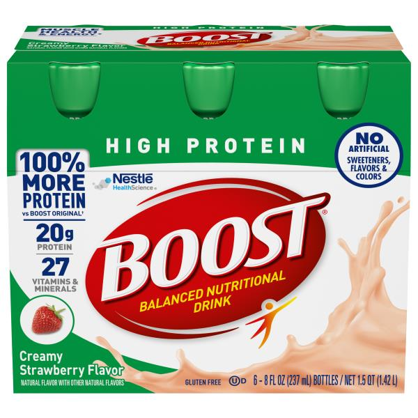 Boost High Protein Nutritional Energy Drink Strawberry 6: Boost High Protein Nutritional Drink, Complete, Creamy