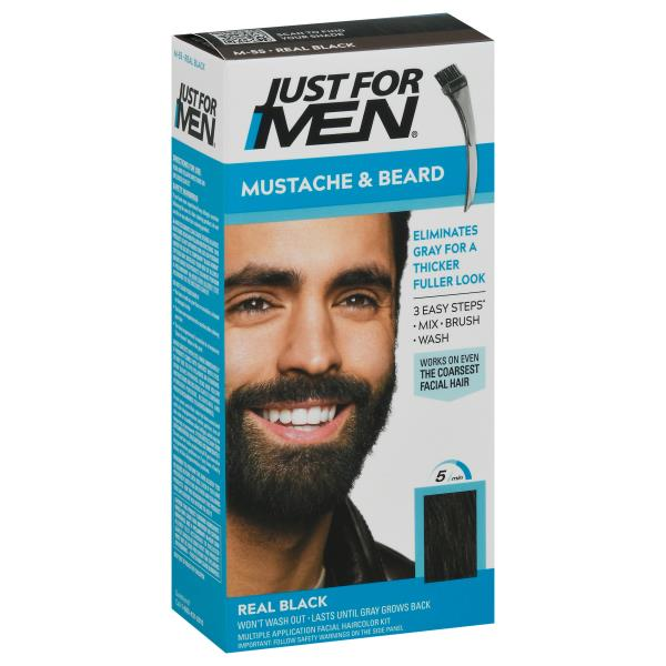 Just For Men Color Gel, Brush-In, Mustache & Beard, Real Black M-55 ...