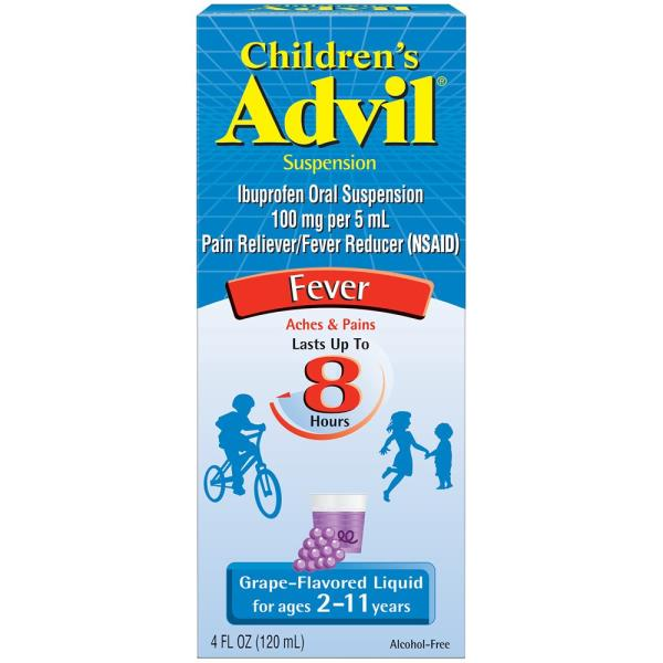 Advil Children's Fever, Children's, 100 mg, Suspension, Grape-Flavored Liquid