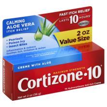 Cortizone 10 Anti-Itch Creme, Maximum Strength, Calming Aloe Vera, Value Size