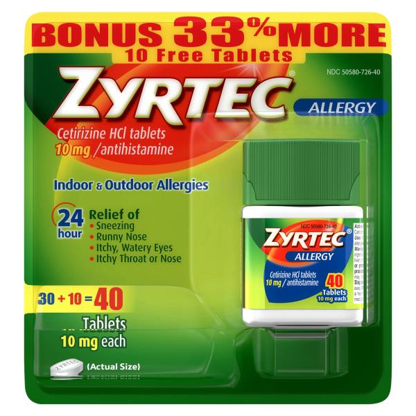 Zyrtec Allergy, Original Prescription Strength, 10 mg, Tablets