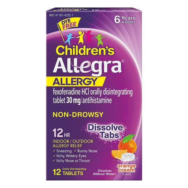 Allegra Children's Allergy, 12 Hour, 30 mg, Orally Disintegrating Tablets, Orange Cream Flavor