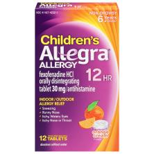 Allegra Children's Allergy, 12 Hour, 30 mg, Orally Disintegrating Tablets, Orange Cream Flavor