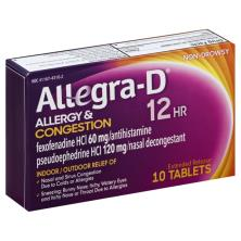 Allegra D Allergy & Congestion, 12 HR, Extended Release Tablets