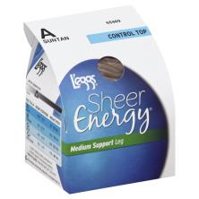 Leggs Sheer Energy Pantyhose, Medium Support Leg, Control Top, Sheer Toe, A, Suntan