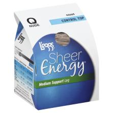Leggs Sheer Energy Pantyhose, Medium Support Leg, Control Top, Sheer Toe, Q, Nude