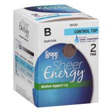 Leggs Sheer Energy Pantyhose, Medium Support Leg, Control Top, Sheer Toe, B, Suntan