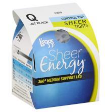 Leggs Sheer Energy Tights, Sheer, 360 Degree Medium Support Leg, Control Top, Q, Jet Black