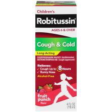 Robitussin Children's Cough & Cold, Long-Acting, Fruit Punch Flavor