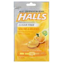 Halls Cough Suppressant/Oral Anesthetic, Menthol, Sugar Free, Citrus Blend Flavor
