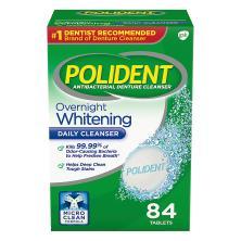 Polident Antibacterial Denture Cleanser, Overnight Whitening, Tablets, Triple Mint Freshness