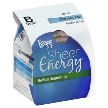 Leggs Sheer Energy Pantyhose, Medium Support Leg, Control Top, Reinforced Toe, B, Nude
