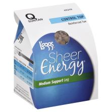 Leggs Sheer Energy Pantyhose, Medium Support Leg, Control Top, Reinforced Toe, Q, Suntan