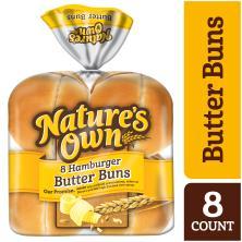 Natures Own Hamburger Buns, Butter, Sliced
