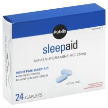 Publix Sleep Aid, Nighttime, 25 mg, Caplets
