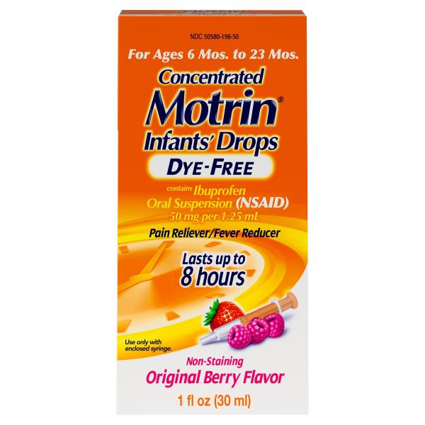 Motrin Concentrated Infants' Drops, Dye Free, Original Berry Flavor
