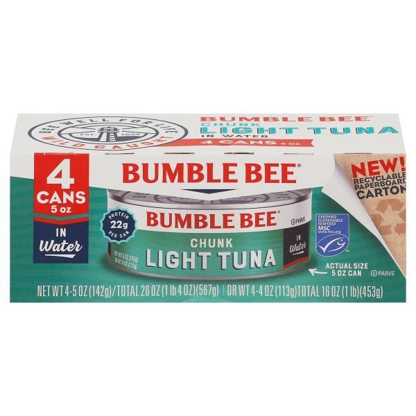 Bumble Bee Tuna, Chunk Light, in Water, 4 Pack