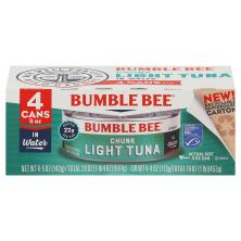 Bumble Bee Tuna, Chunk Light, in Water, 4 Pack