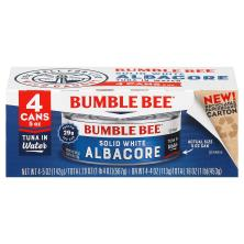 Bumble Bee Tuna, Premium, Solid White Albacore, in Water, 4 Pack