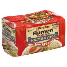 Maruchan Ramen Noodle Soup, Chicken Flavor, Souper 6-Pack