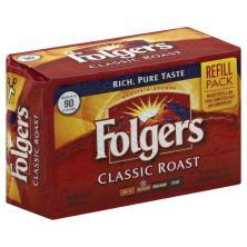 Folgers Coffee, Ground, Medium, Classic Roast, Refill Pack