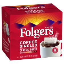 Folgers Coffee Singles, Medium, Classic Roast, Coffee Bags