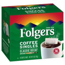 Folgers Coffee Singles, Medium, Classic Decaf, Coffee Bags