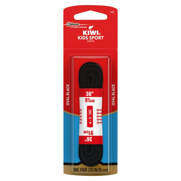 Kiwi Kids Sport Shoe Laces, Oval, Black, 36 Inch : Publix.com