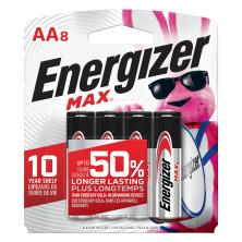 Energizer Max Batteries, Alkaline, AA, 8 Pack