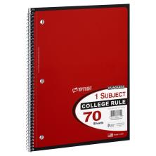 Top Flight Standards Notebook, 1 Subject, College Rule, 70 Sheets