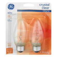 GE Light Bulbs, Ceiling Fan, Crystal Clear, 40 Watts