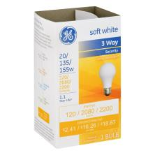 GE Light Bulb, 3 Way, Security, Soft White, 20/135/155 Watts