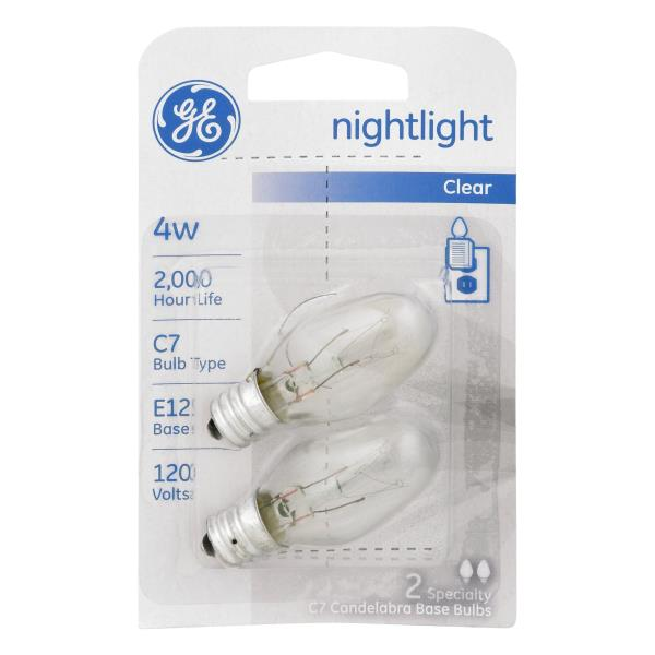 GE Light Bulbs, Nightlight, Clear, 4 Watts