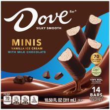 Dove Ice Cream, with Milk Chocolate, Vanilla/Chocolate Chip, Minis