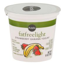 Publix Yogurt, Fat Free, Light, Strawberry Banana