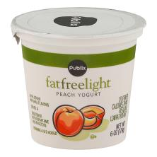 Publix Yogurt, Fat Free, Light, Peach