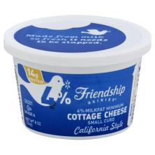 Friendship Dairies Cottage Cheese, Small Curd, 4% Milkfat Minimum, California Style