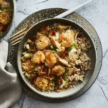 Sweet Chili Shrimp with Sesame Ginger Cabbage over Brown Rice