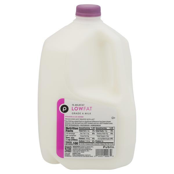 Publix Milk, Lowfat, 1% Milkfat