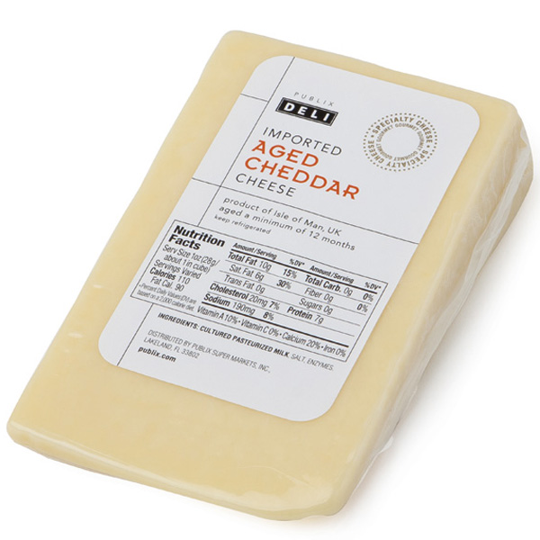 Publix Deli Cheddar Cheese, Imported, Aged