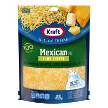 Kraft Natural Cheese, Finely Shredded, Mexican Style, Four Cheese