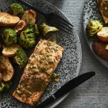 Mustard Salmon with Broccoli and Potatoes