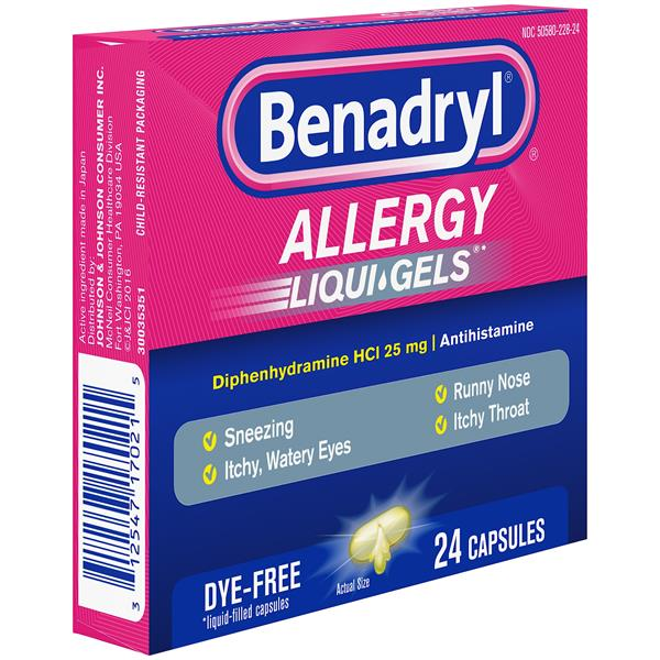 Benadryl Allergy, 25 mg, Liqui-Gels