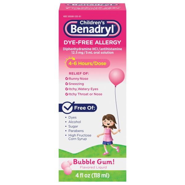Benadryl Children's Allergy, Dye-Free, Flavored Liquid, Bubble Gum!