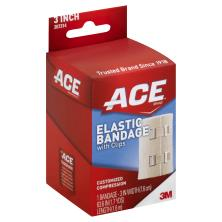 Ace Bandage, Elastic, with Clips, 3 Inch