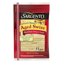 Sargento Cheese, Natural, Aged Swiss, Slices