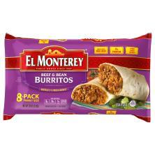 El Monterey Burritos, Beef & Bean, Family Size, 8-Pack