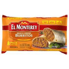 El Monterey Burritos, Bean & Cheese, Family Size, 8-Pack